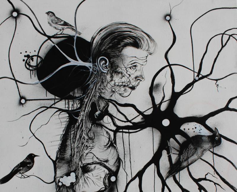 Study for Newton with Birds, acrylique sur toile, 176x142 cm (encadr+®)
