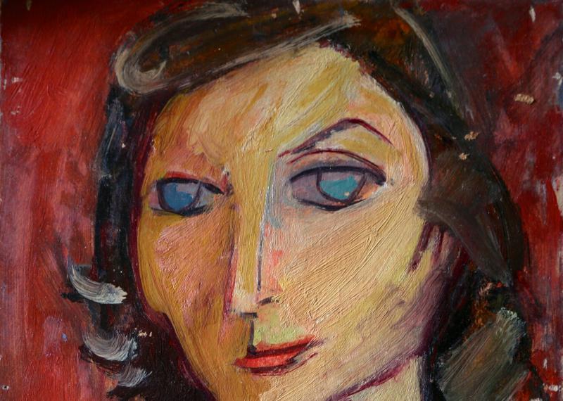 CHARLOTTE-huile-sur-carton-19501 Edgard Naccache Galerie Gare de Marlon